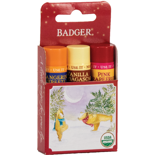 holiday gift 3-pack of lip balms - red box