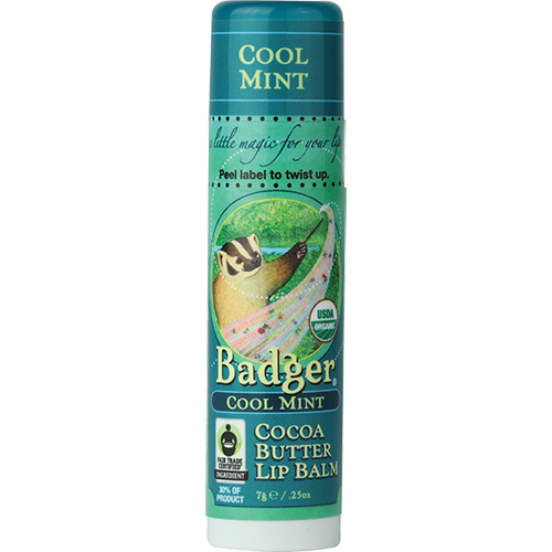 Cool Mint organic lip balm for dry lips by Badger