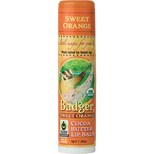 Sweet Orange organic lip balm for dry lips by Badger