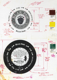 The original specs for the Bear Paw tin.